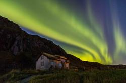 aurora above Sortland on Vestvågøy