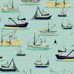 Fishing boats yellow and blue