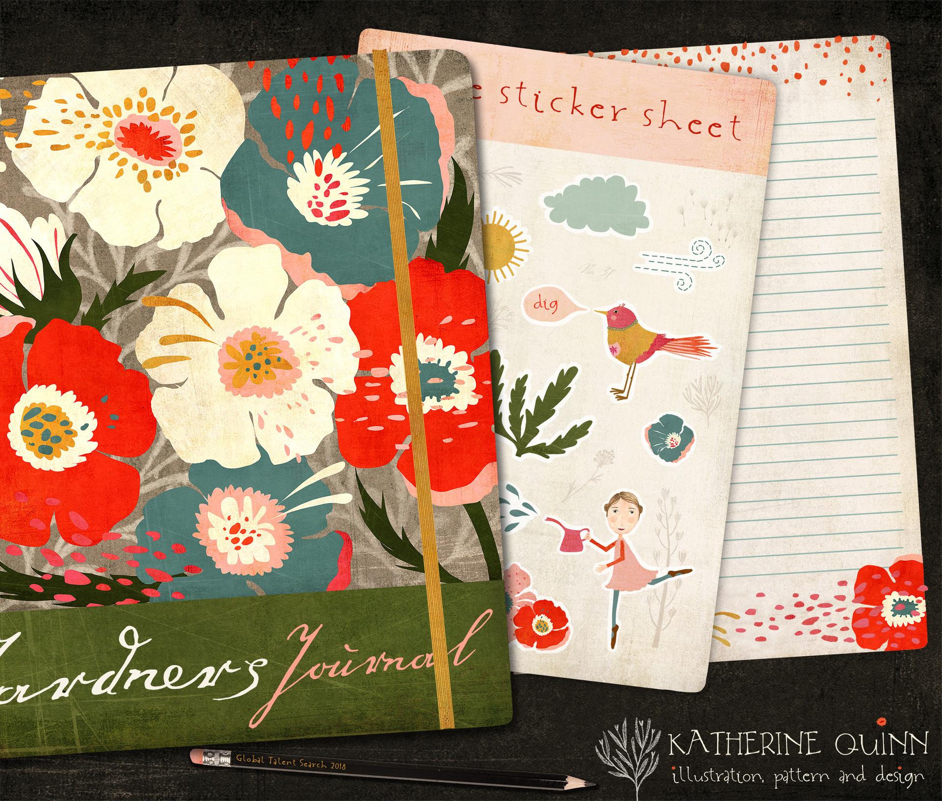 vintage floral gardeners journal