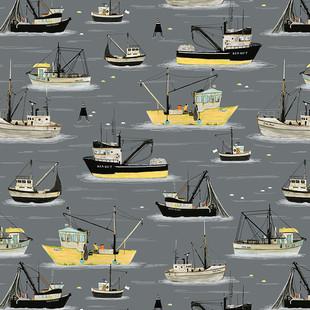 Fishing boats yellow and grey