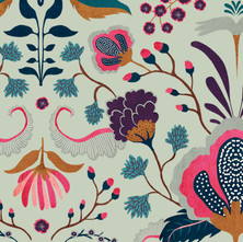 Floral Folk mint detail