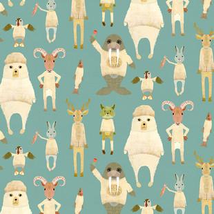 Arctic animals pacific blue
