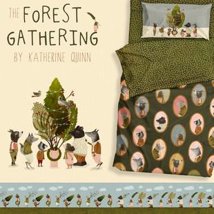 Forest gathering mock up blue