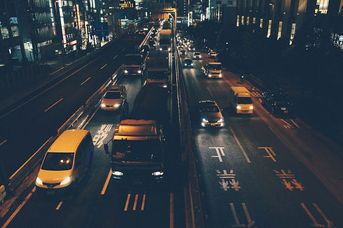Город движения в ночное время