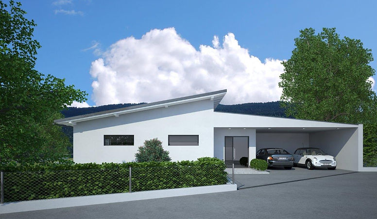 Doppelgarage modern pultdach for Moderne bungalows bauen