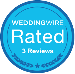 Hangers receives blue WeddingWire Rated badge .