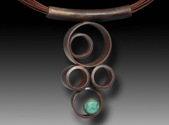 tube necklace with green turquoise final