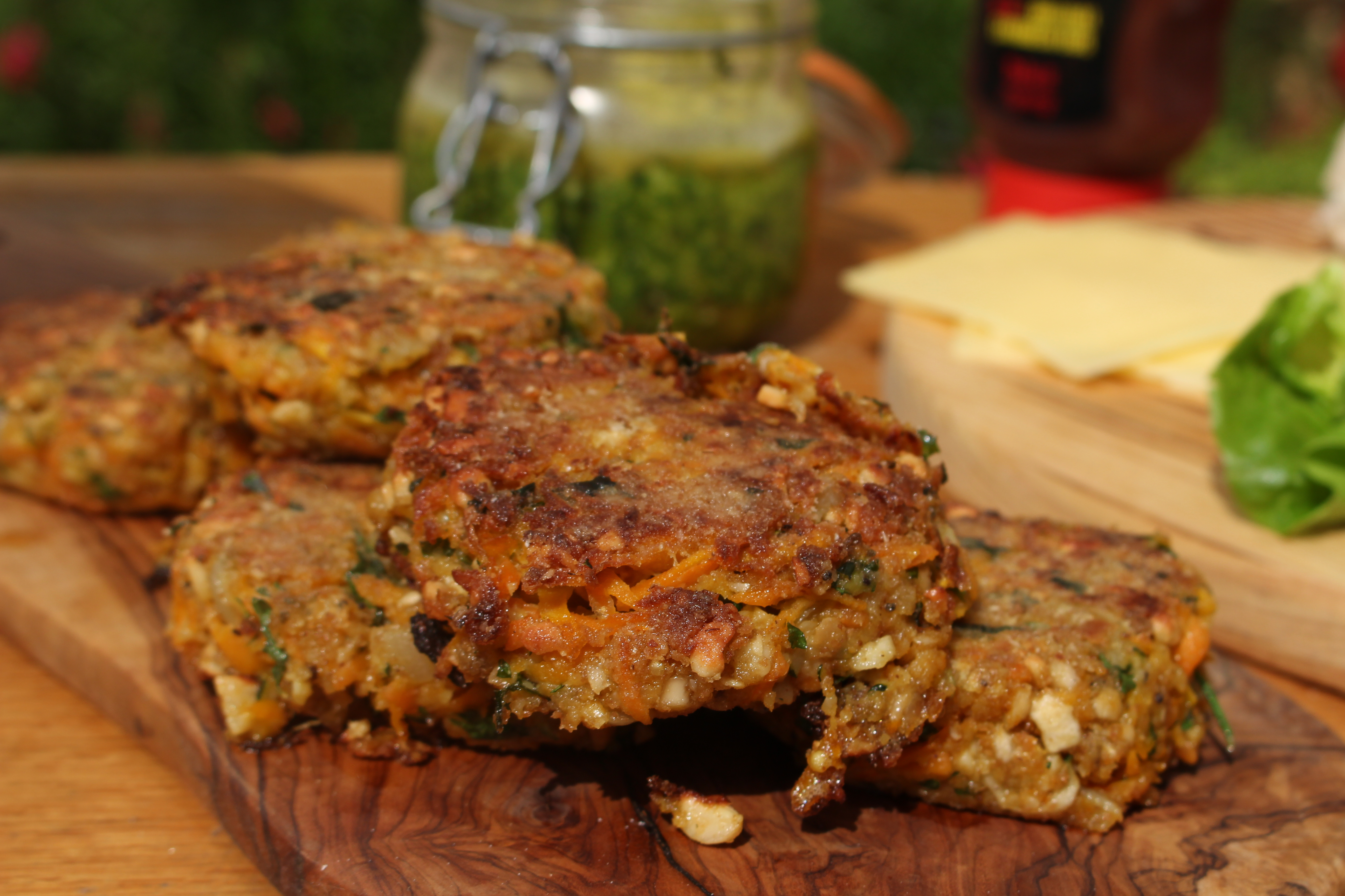 Ckickpea, Cougette & Carrot Burgers
