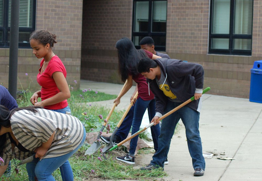 Students turning over soil