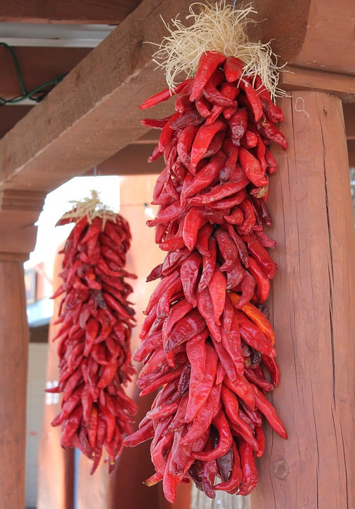 Photograph of a string of red chiles called a 'ristra' that can be found hanging as decoration on many New Mexican homes.