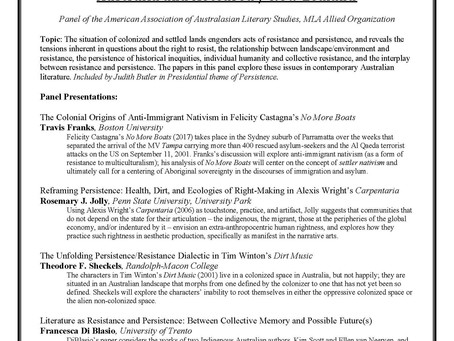 MLA 2021 Convention session about Australian and Aotearoa/New Zealand literature