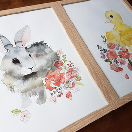 Bunny rabbit and duckling watercolour