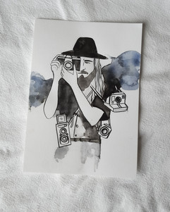 Barefoot and bearded watercolour