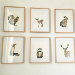 Woodland animal watercolours