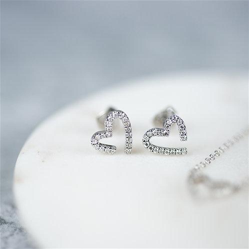 Modern White Gold Diamond Heart Earrings