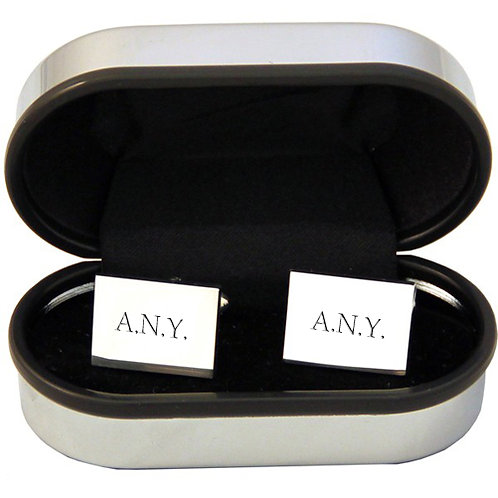 Personalised Rectangle Silver Plated Cufflinks