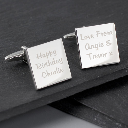 Personalised Any Message Square Cufflinks - 3 lines