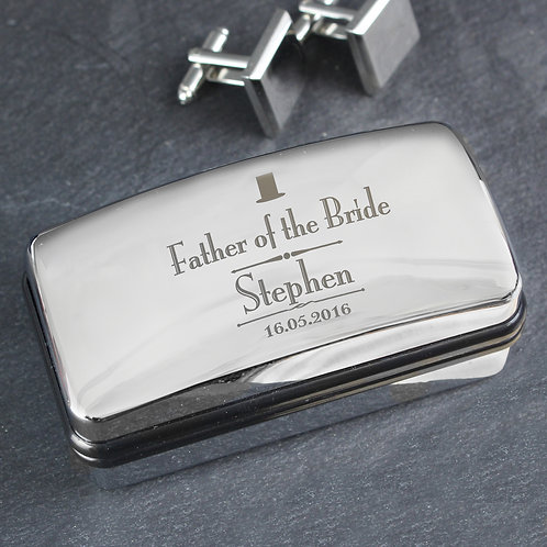 Personalised Decorative Wedding Father of the Bride Cufflink Box