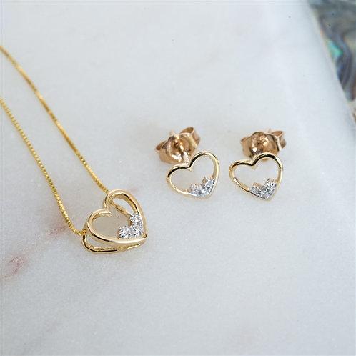 Gold Diamond Heart Set