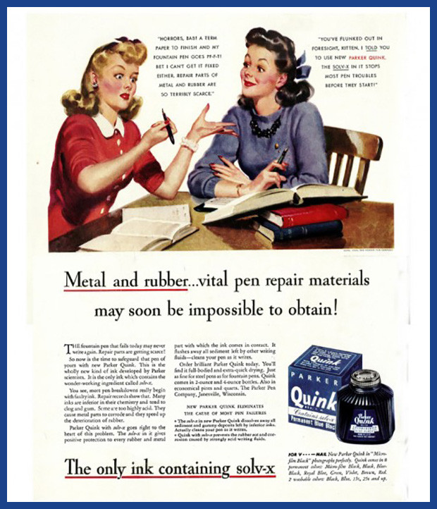 Vintage ad, two women discussing ink and war.