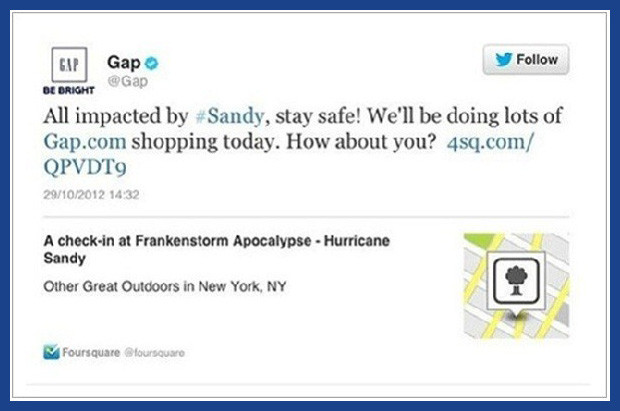 Tweet from The Gap, in reference to Hurricane Sandy.