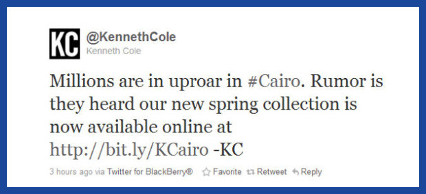 Kenneth Cole tweet, newsjacking the Arab Spring uprising.