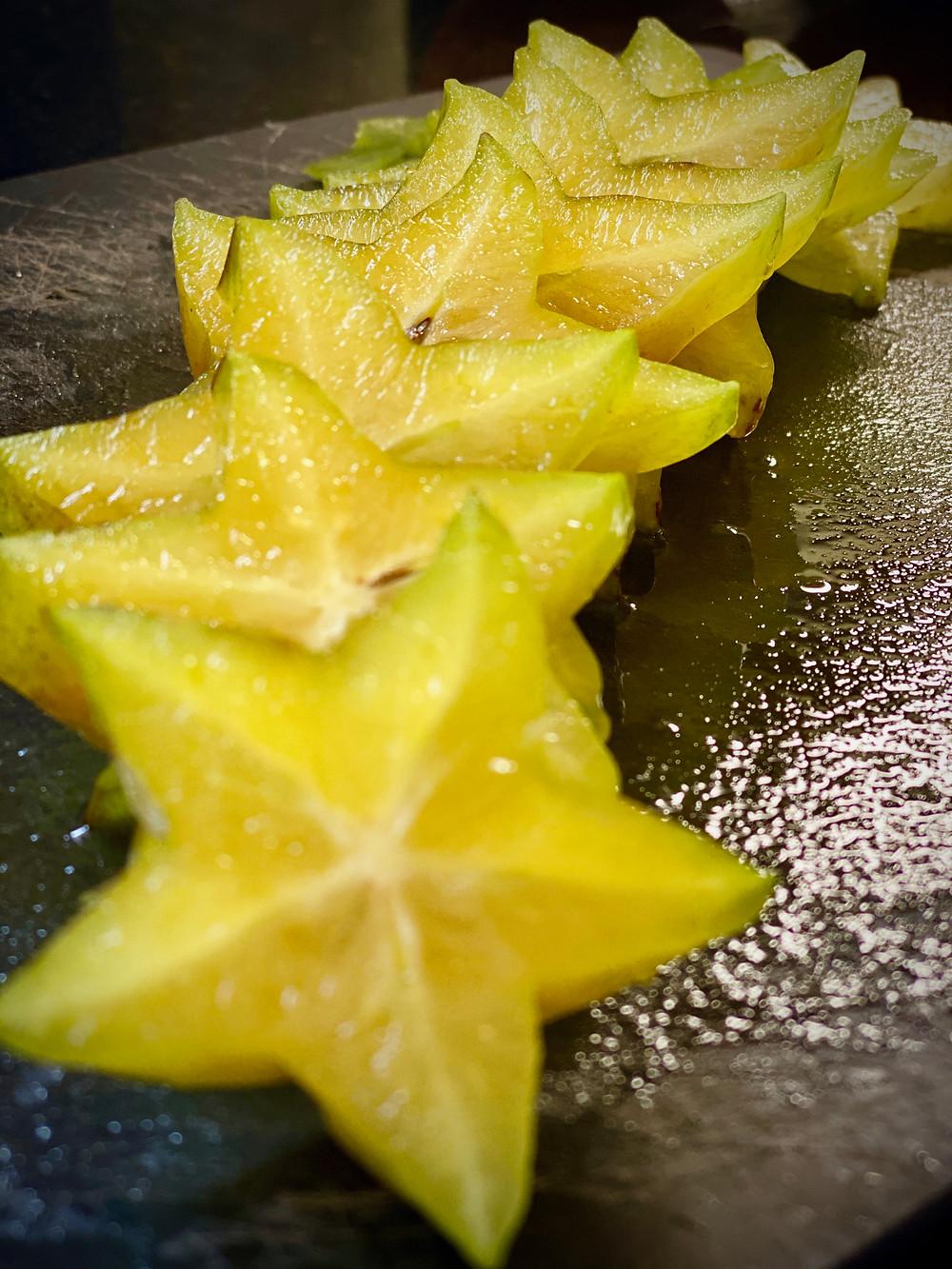 row of chopped star fruit