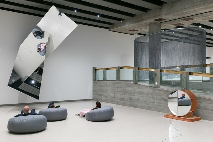 Installation view of Jeppe Hein's360° Illusion V, 2018 at Space Shifters, Hayward Gallery 2018. Photo: Mark Blower