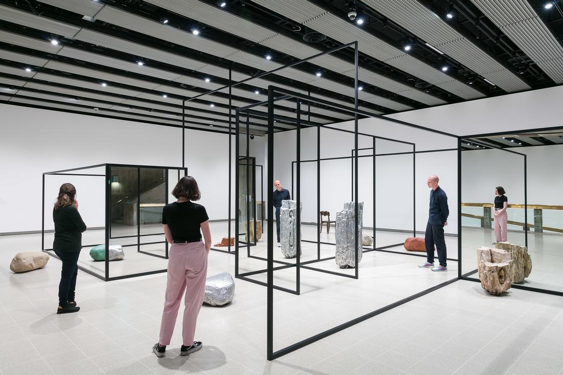 Installation view of Alicja Kwade'sWeltenLinie, 2017 at Space Shifters, Hayward Gallery 2018. Photo: Mark Blower