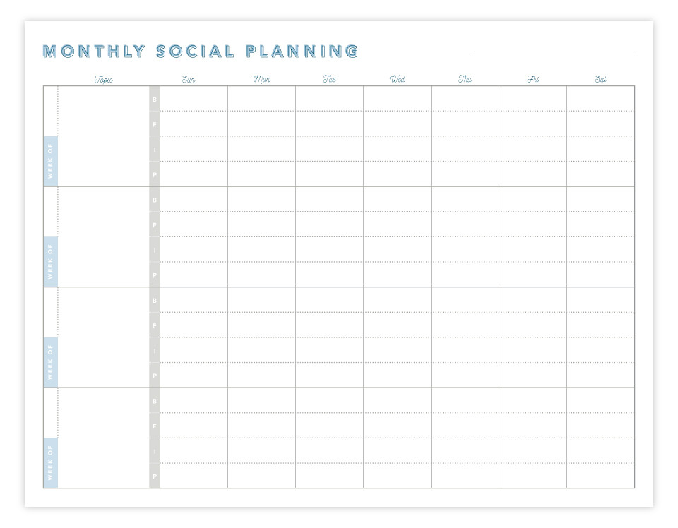 Monthly Social Planning Worksheet