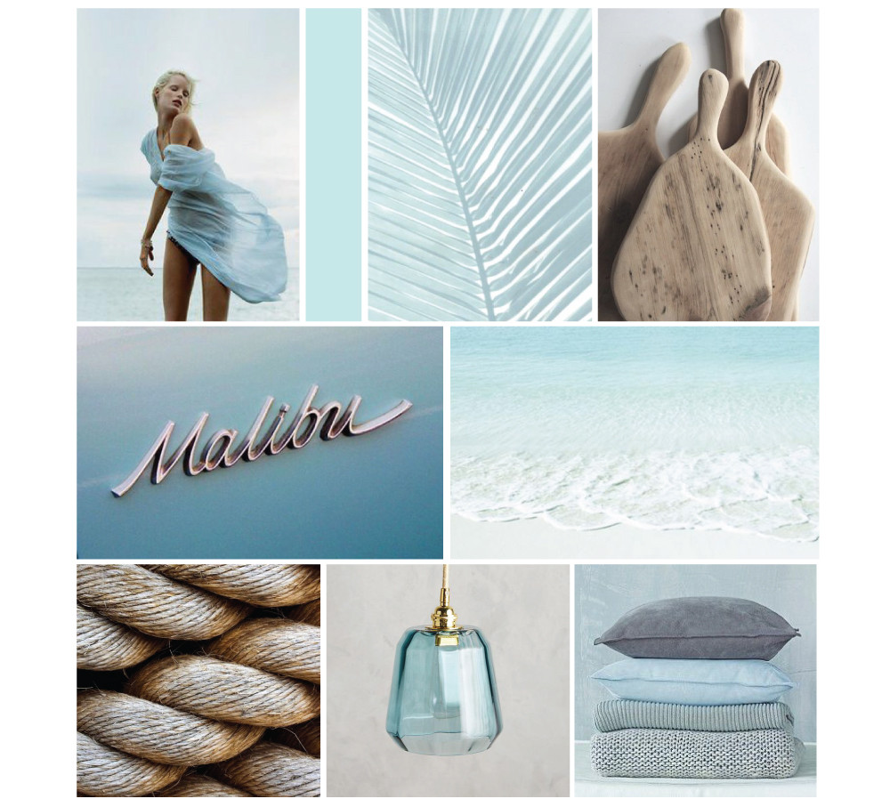 A final mood board with beachy blues and natural elements using the mood board equation and placement techniques from happenstance Studio