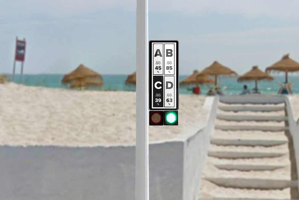 A traffic light system allows beach goers to identify if a beach is full