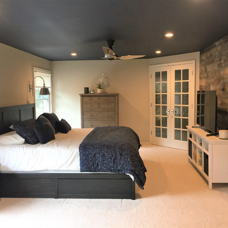 Master Suite with Navy Ceiling and Stikwood Wall