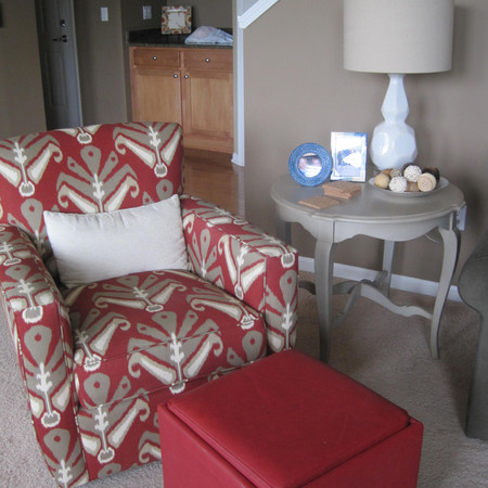 Red Patterned Chair and Ottoman Seating