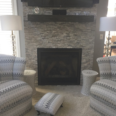 Updated Stone Fireplace and Vintage Chairs