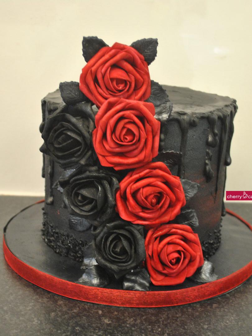 Black Drip Red & Black Roses