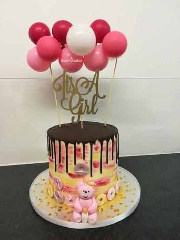 Girl Baby Shower Balloon Drip cake
