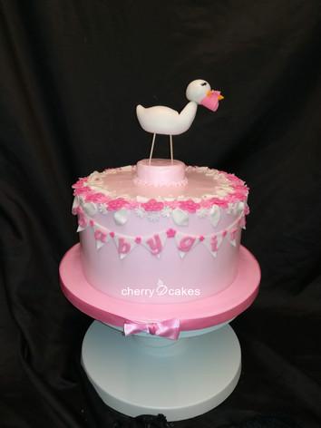 Girl Baby Shower Stork Cake
