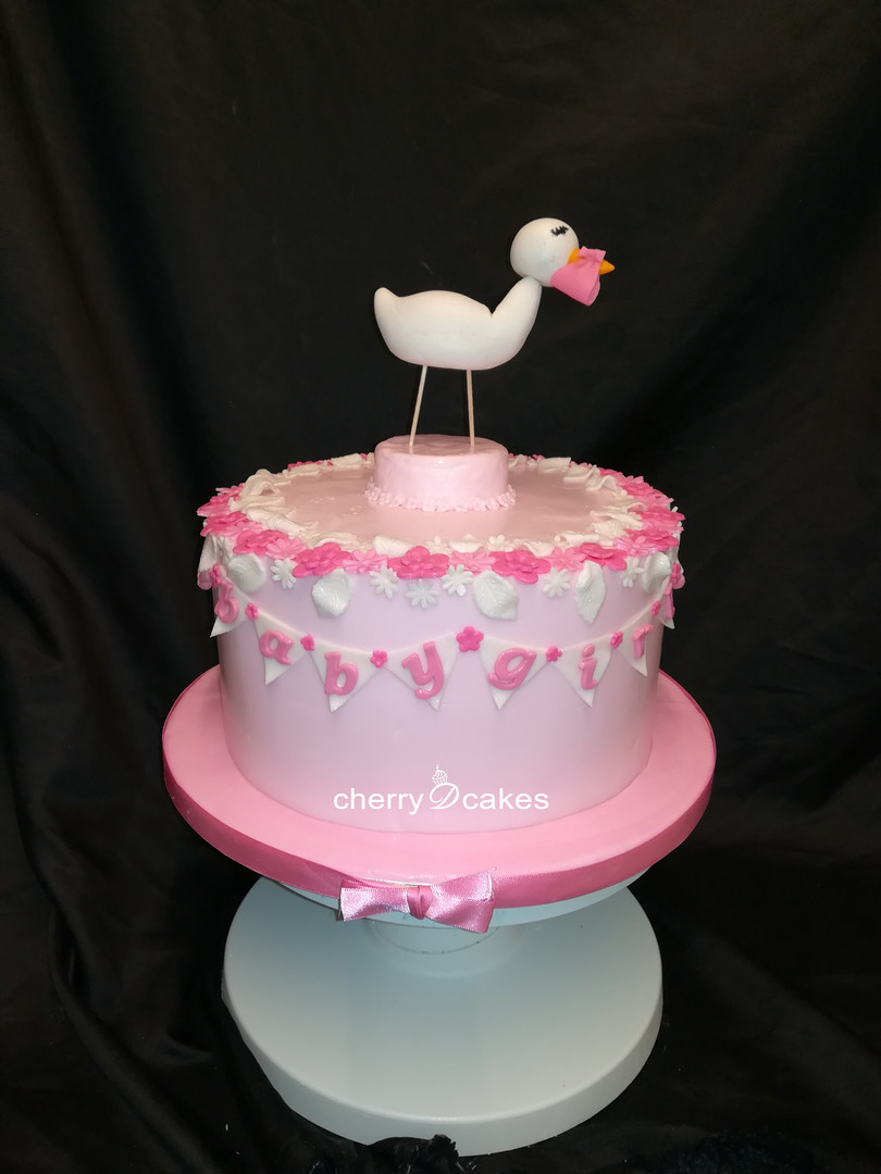 Girl Baby Shower Stork Cake