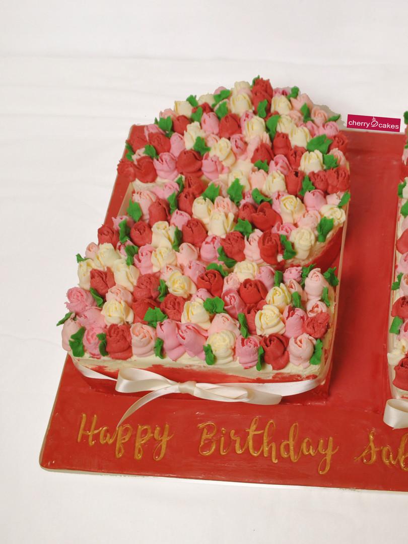 Number 21 Buttercream Rose Cake