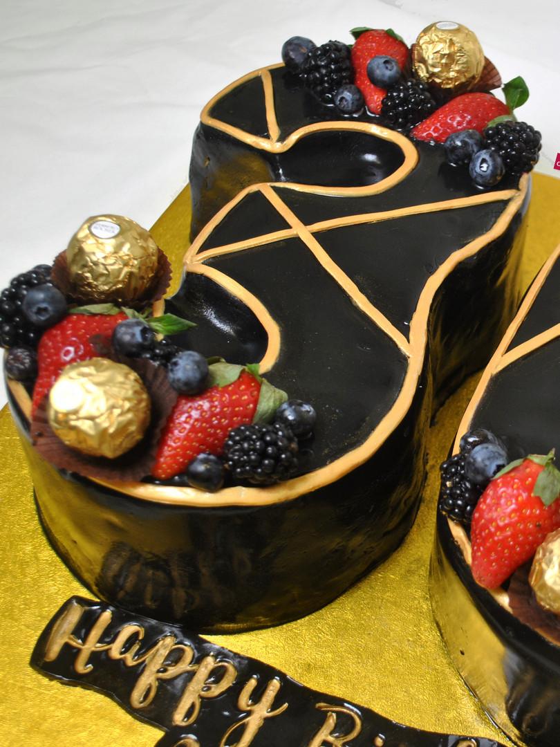 Black & Gold Number 30 Cake