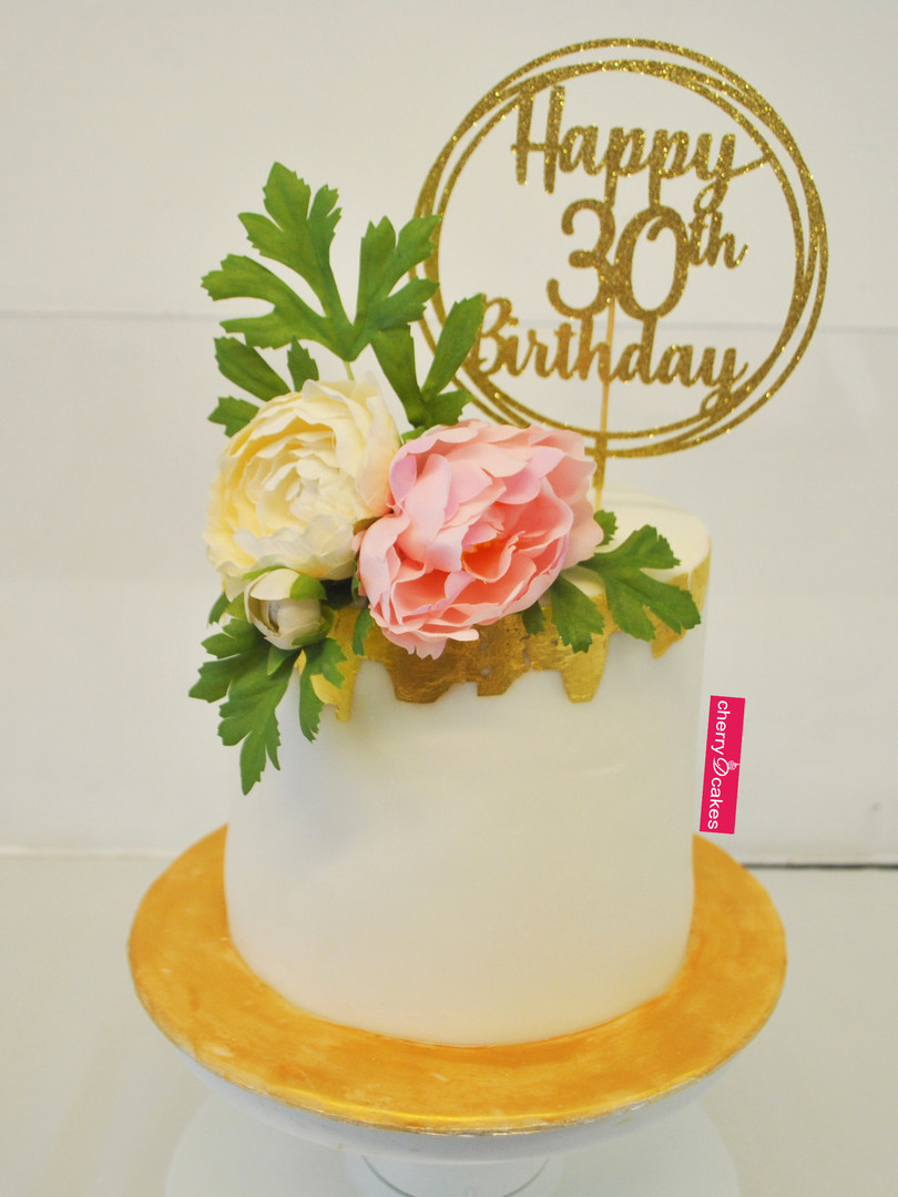 White & Gold Leaf with Pink & White flowers