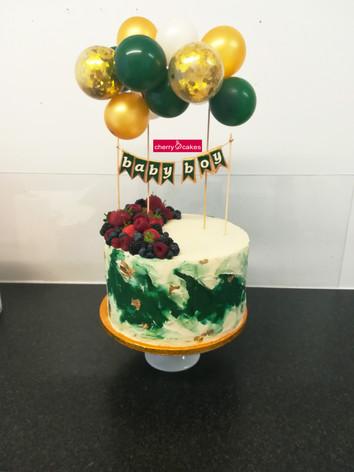 Baby Shower Green & Gold Balloon