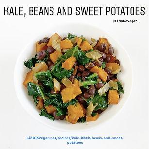 Kale, black beans and sweet potatoes
