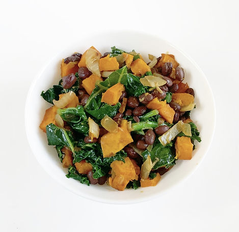 Kale, black beans and sweet potatoes