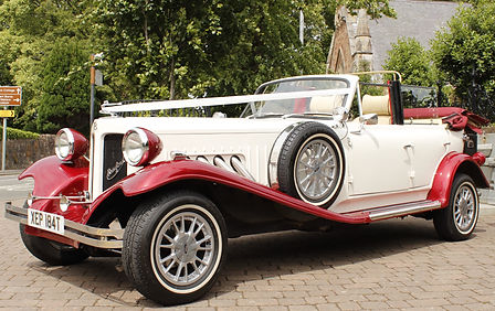 Our stunning 4 door beauford bridal car at the brig o doon Ayrshire awaiting the bridal party