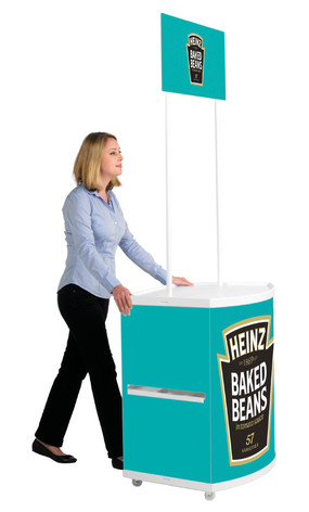 Motion promotional display counter side view