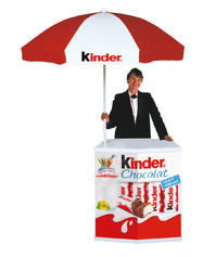 The Original promotional display counter with umbrella