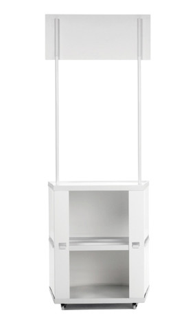 Motion promotional display counter storage