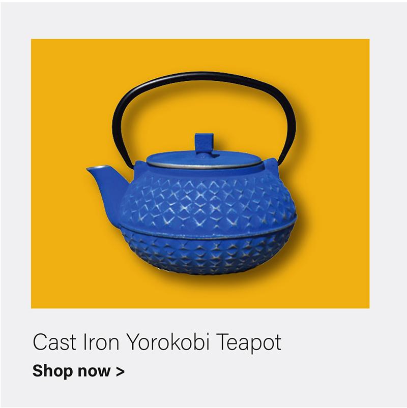 "Blue/Silver Cast Iron ""Yorokobi"" Teapot, 32 Oz."